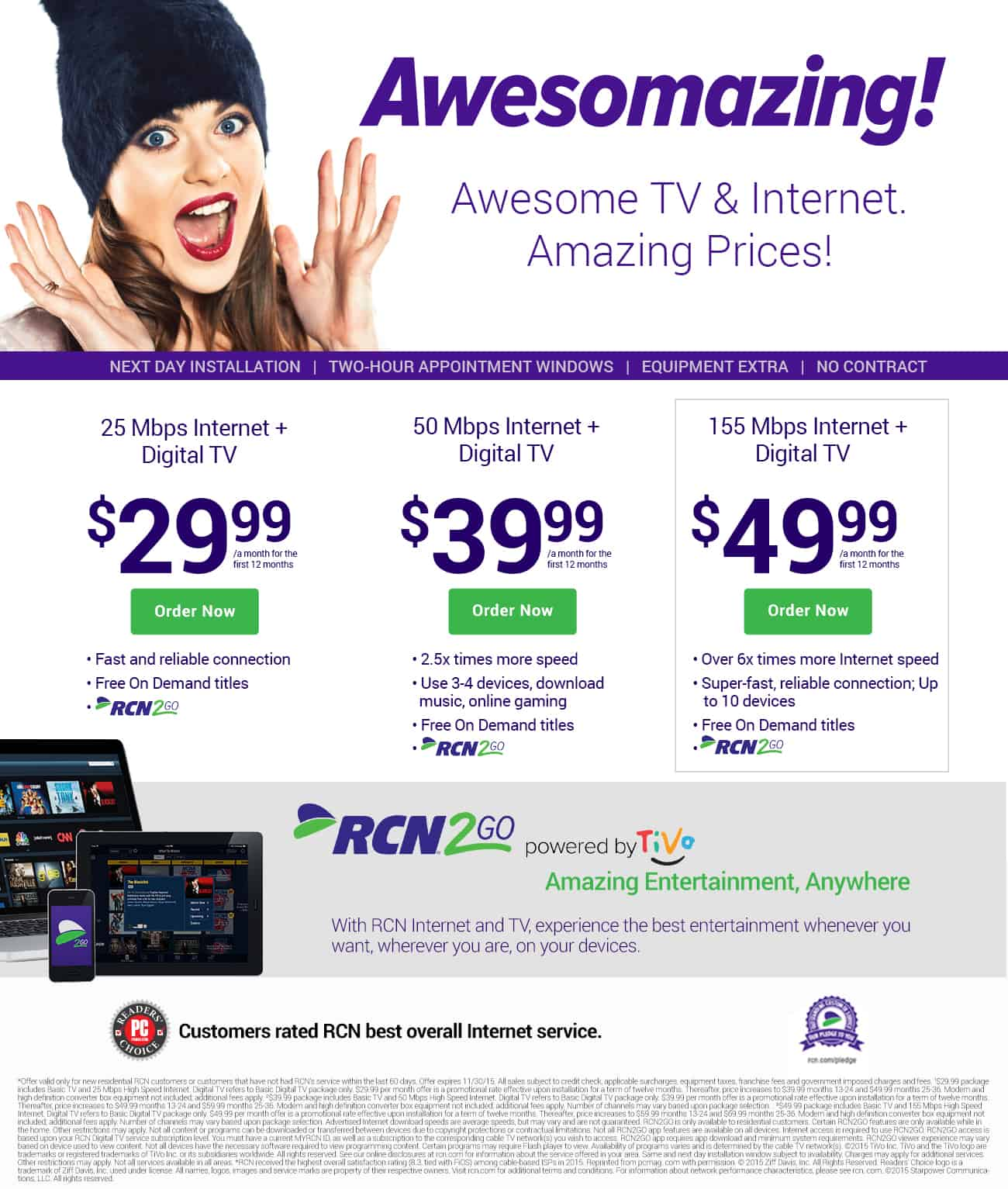 Internet and TV as low as $29.99
