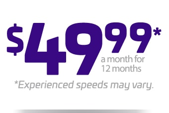$49.99* a month for 12 months. *Experienced speeds may vary.