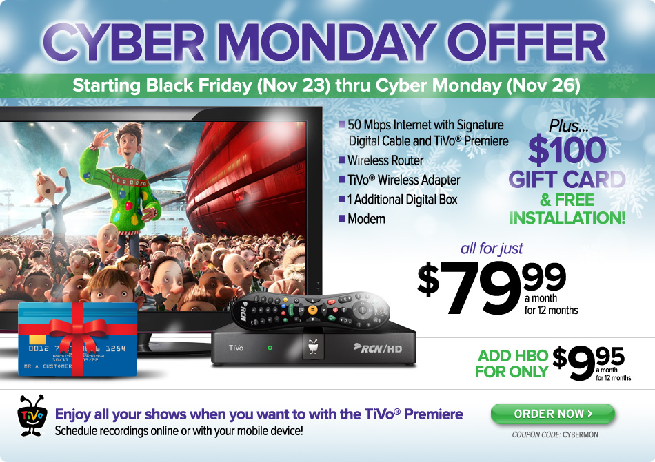 Special Black Friday/CyberMonday Offer from Boston - 50 Mbps High-Speed Internet & Digital TV & TiVo!