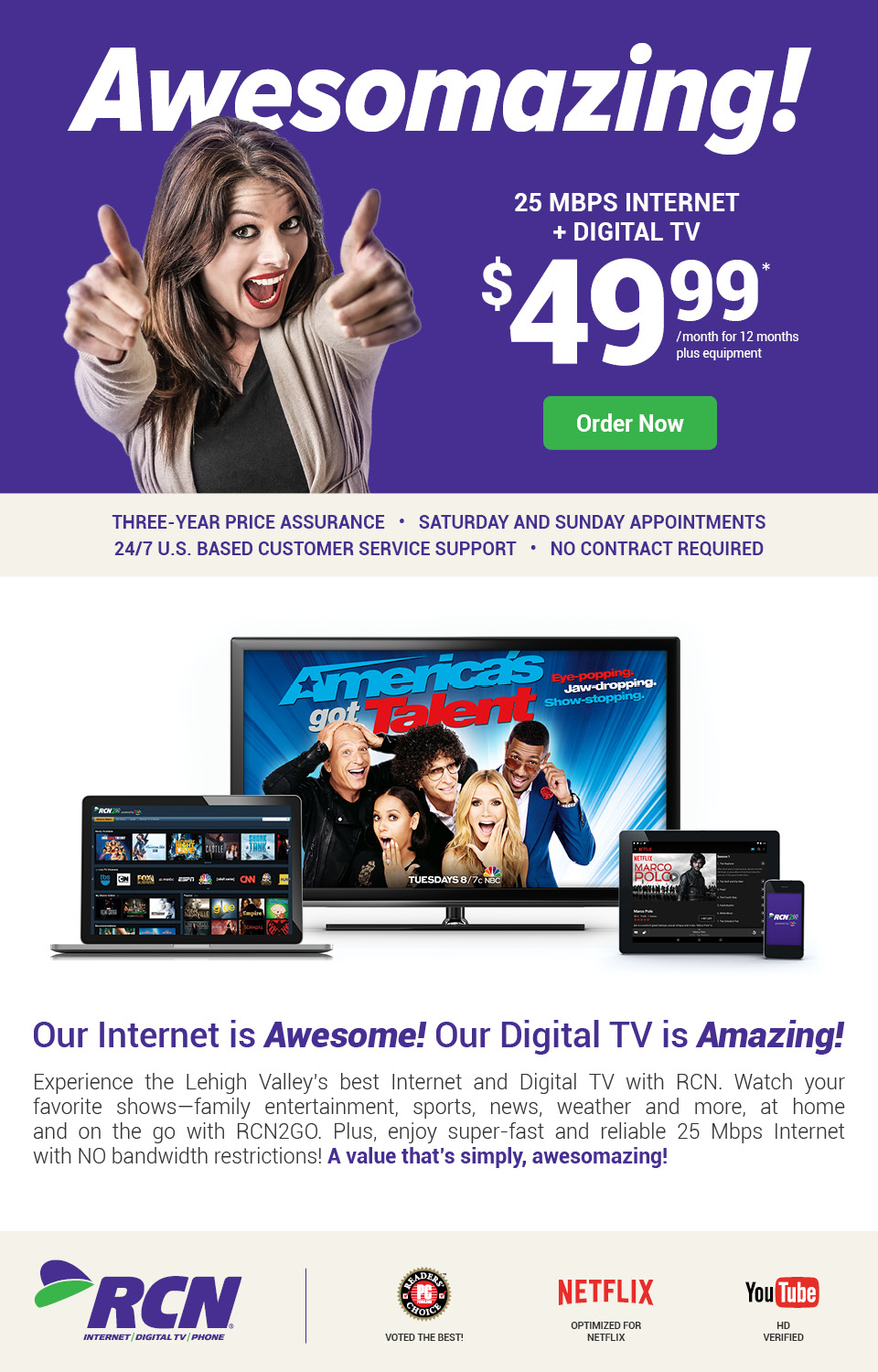 $49.99 25 Mbps Internet and Digital TV